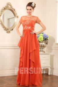f1058d03a22 robe de soirée longue orange à haut brodé à mancheron