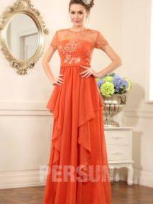 robe de soirée longue orange à haut brodé à mancheron