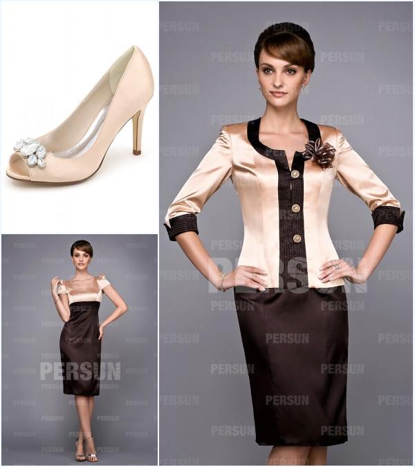 tailleur courte champagne & brun