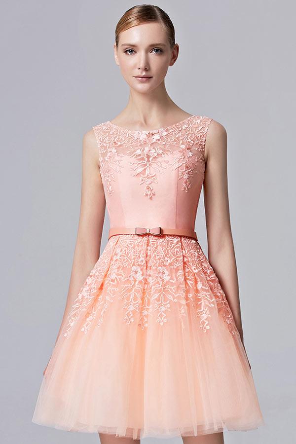 robe de soirée orange appliqué de dentelle