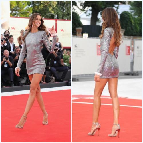 Izabel Goulart en robe cocktail sexy à paillettes courtes manche longue dos découpé
