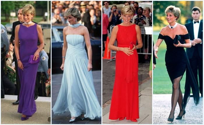 robes de soirée violette, bleu pale, rouge et noire de Princesse Diana