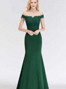 robe de soirée longue verte sirène col bardot appliqué de dentelle
