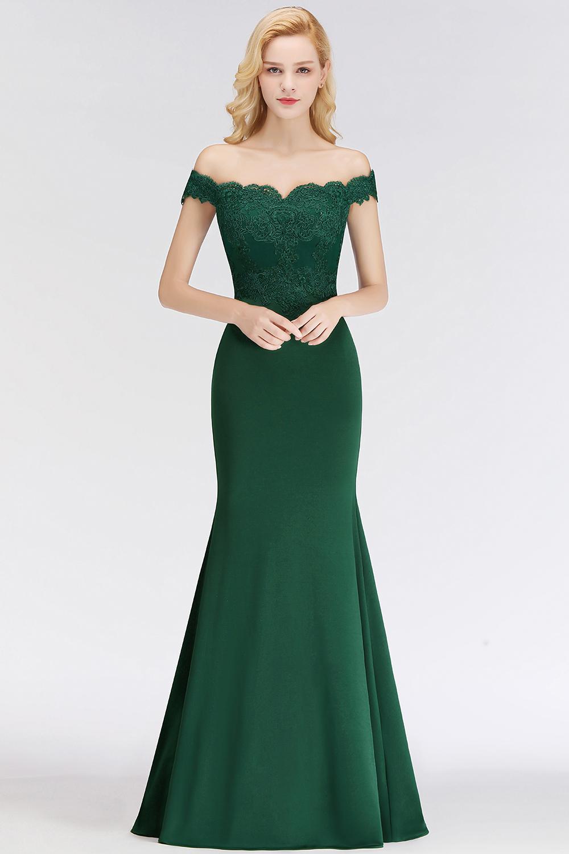b89784fe6b4 robe de soirée longue verte sirène col bardot appliqué de dentelle. robe de soirée  rouge longue fendue épaule dénudé
