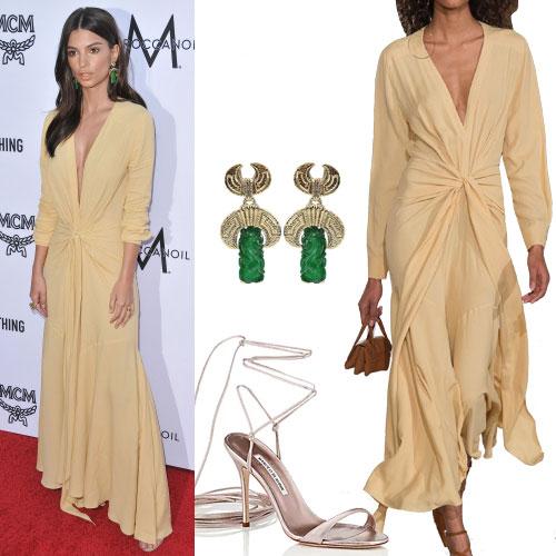 robe jaune et accessoires Emily Ratajkowski