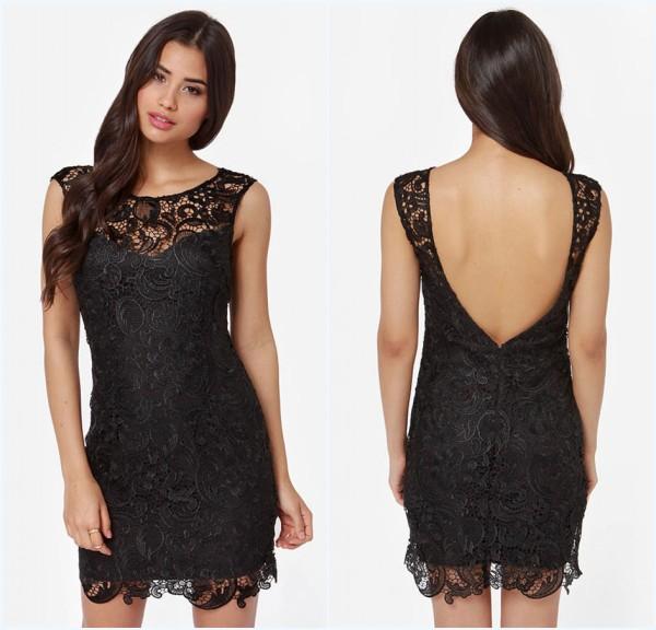 robe de cocktail noire courte en dentelle dos nu