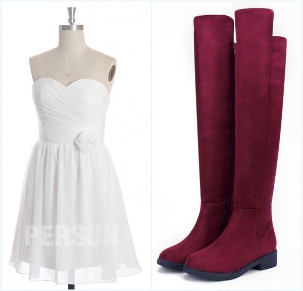 robe blanche courte et bottes longues