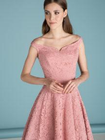 robe de soirée corail courte en dentelle col bardot