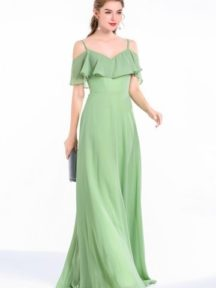 robe longue de soirée verte pour mariage épaule dégagé