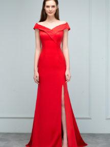 robe de soirée rouge longue fendue épaule dénudé