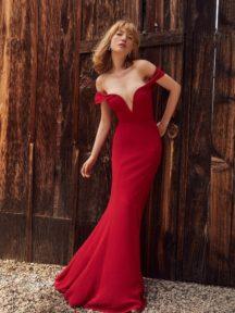 robe de soirée rouge sexy épaule dénudé