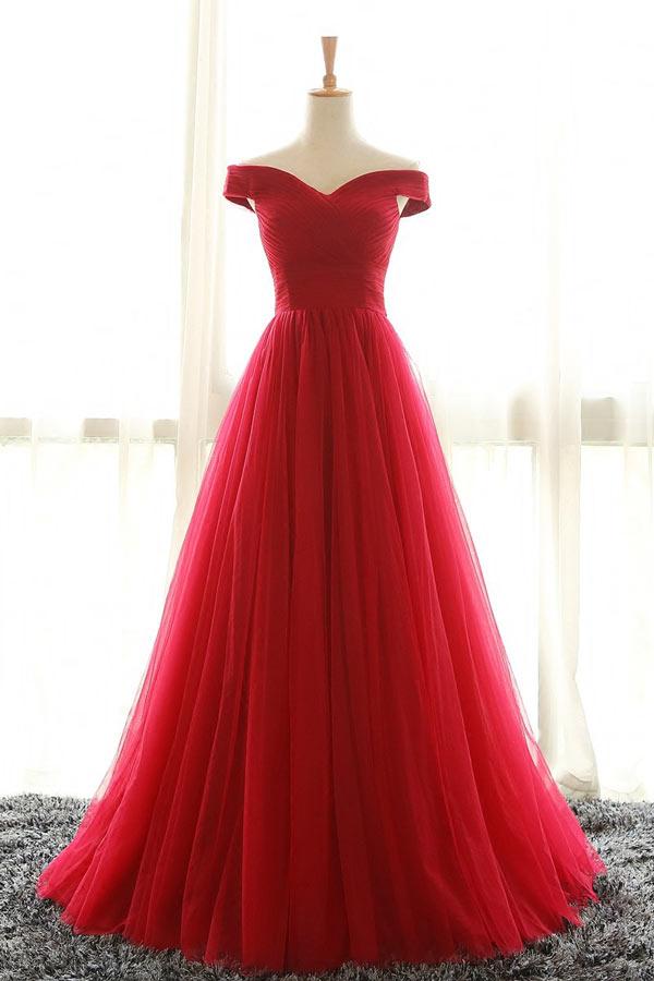 robe de soirée rouge princesse épaule dégagé en tulle