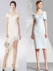 robes à épaule dénudé en différentes longueurs
