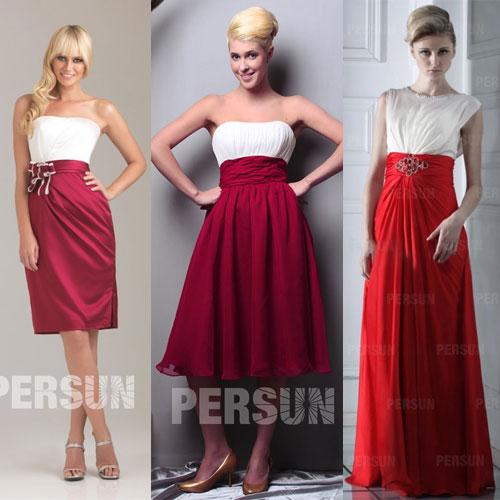 robes de soirée rouges et blanches