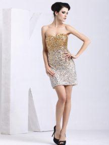 petite robe dorée bustier coeur fourreau