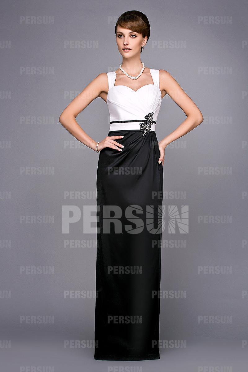 robe de soirée longue blanche et noire colonne