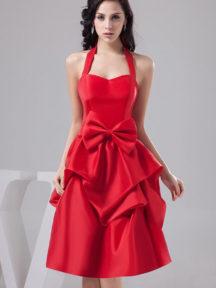robe de soirée rouge halter avec noeud