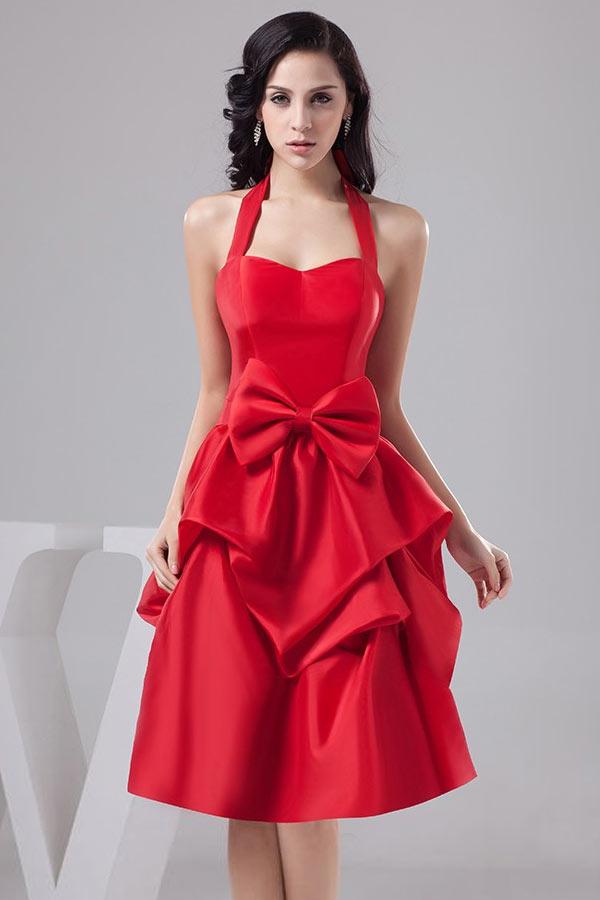 26cf2385334 robe de soirée rouge halter avec noeud