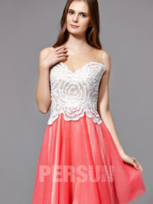 robe de soirée bicolore courte brodé