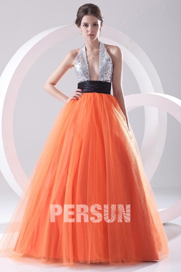 robe de soirée sexy orange et argenté col décolleté en V plongeant
