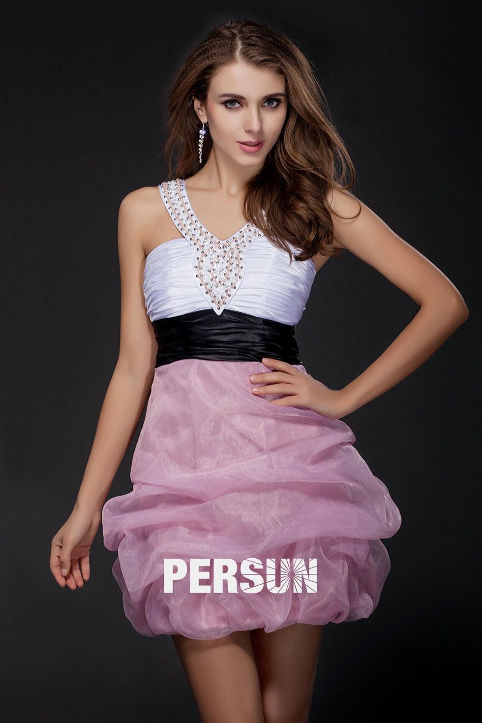 robe de cocktail rose et blanche col américain orné de strass