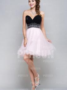 robe de cocktail tutu noire et rose bustier coeur