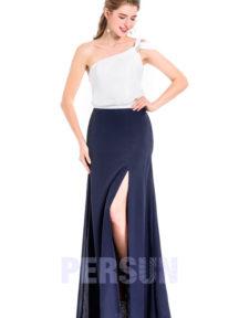 robe de soirée blanche et bleu fendue asymétrique