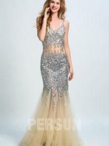 robe de soirée dorée sirèene avec paillettes