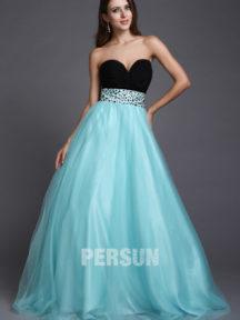 robe de soirée princesse noire et bleu bustier coeur empire