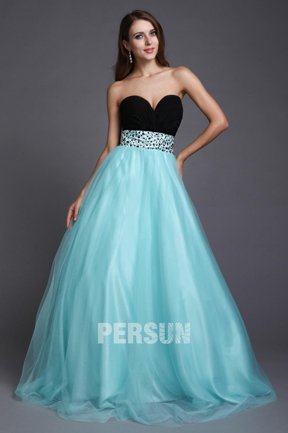 1fdcae3e7dcc robe de soirée princesse noire et bleu bustier coeur empire