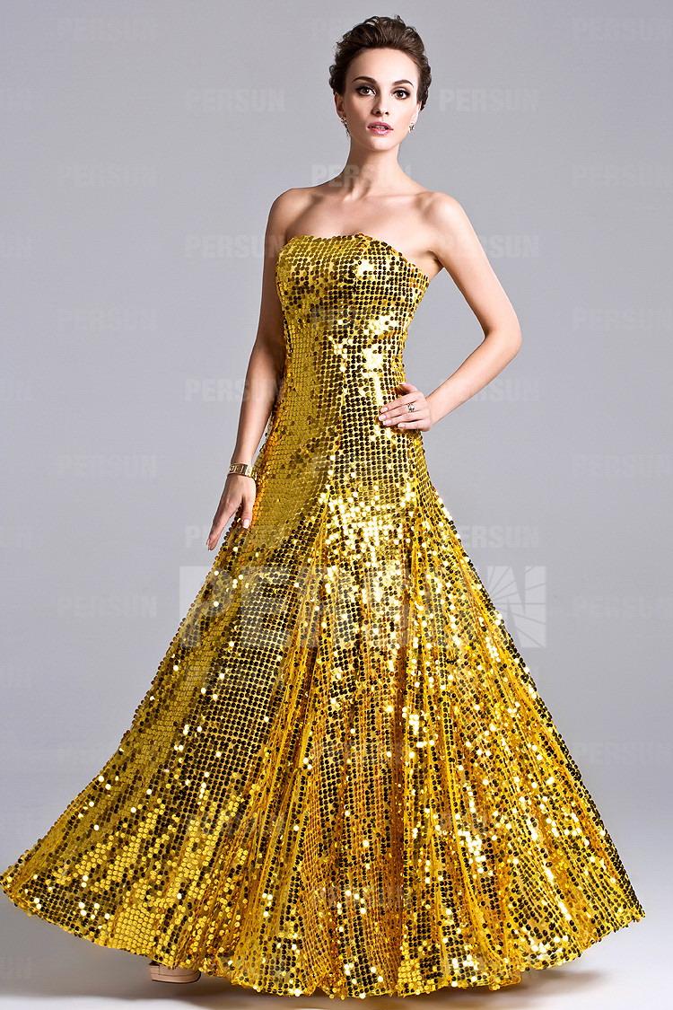 robe de soirée dorée longue en sequin
