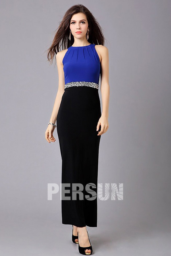 robe de soirée bleu noire fourreau ceinturé en strass