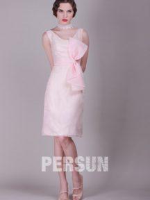 robe de soirée rose courte avec grand noeud