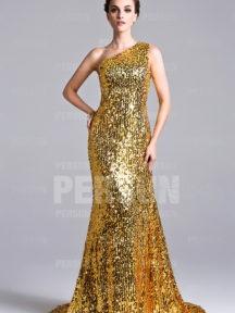 robe de soirée doré asymétrique en sequin