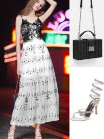 Robe de soirée bicolore noir & blanche brodée de notes musicales, sac noire caré et sandales avec brides orné de strass