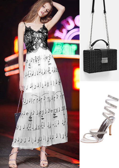 c445bed1af264 Robe de soirée bicolore noir   blanche brodée de notes musicales, sac noire  caré et