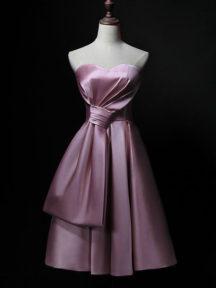 robe de soirée rose courte bustier coeur avec noeud