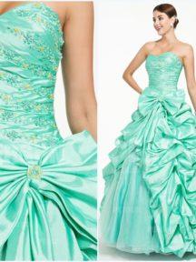 robe de soirée verte orné de strass avec grand noeud