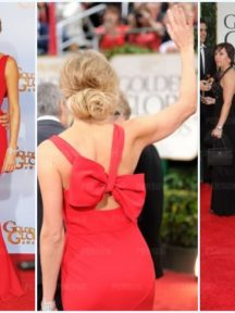 robe rouge sirène Stacy Keibler avec grand noeud au dos