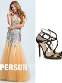 robe de soirée doré sirène orné de strass et sandales pas cher noires