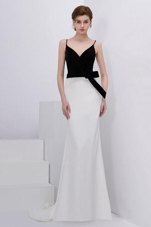 robe de soirée simple noire et blanche