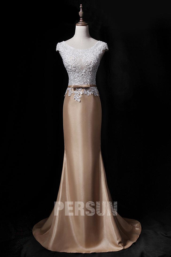 robe de soirée sirène champagne et blanche