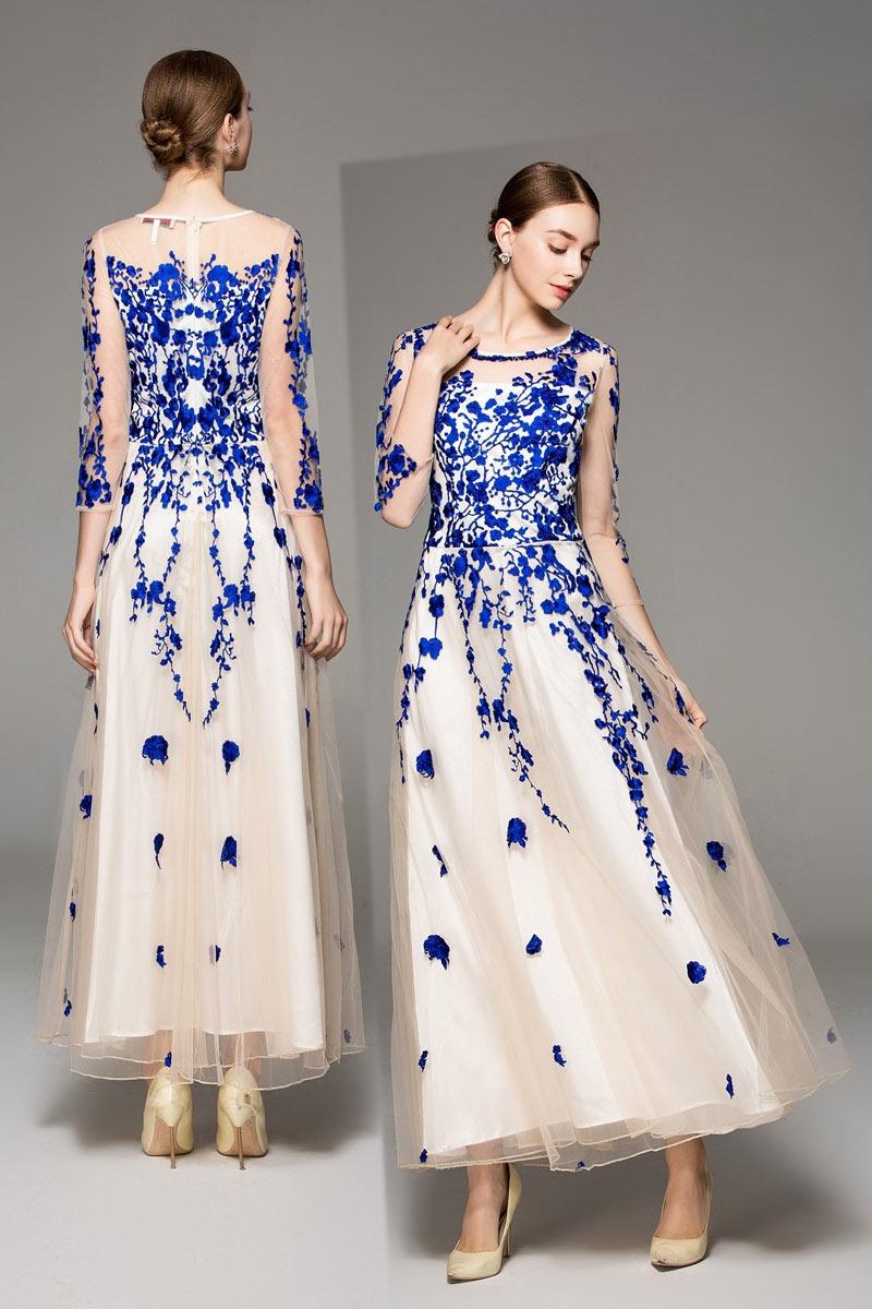robe de soirée bicolore avec broderies à manche