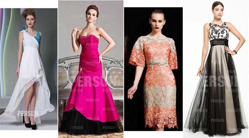 robes de soirée et cocktail bicolores