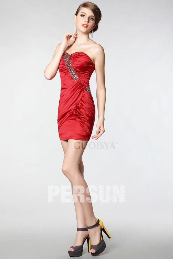 sexy robe de cocktail rouge bustier coeur embelli de bijoux