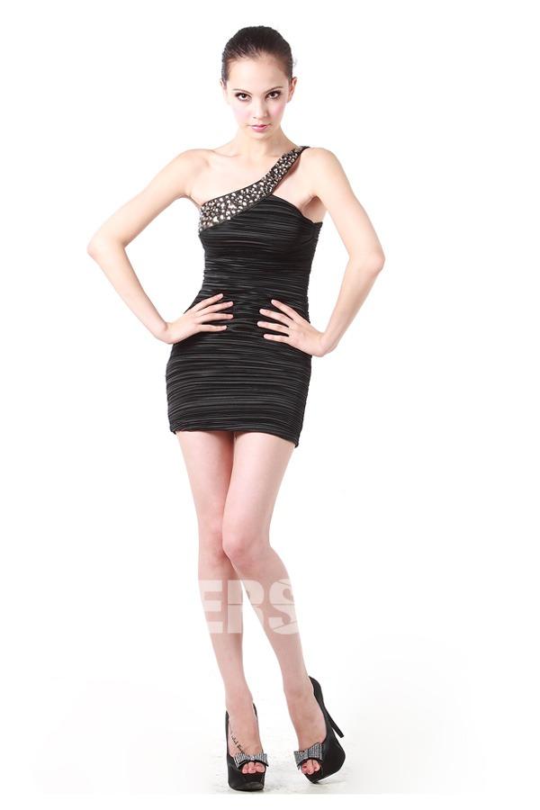 petite robe noire sexy asymétrique orné de strass & plissé