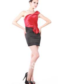 robe de cocktail rouge & noire asymétrique