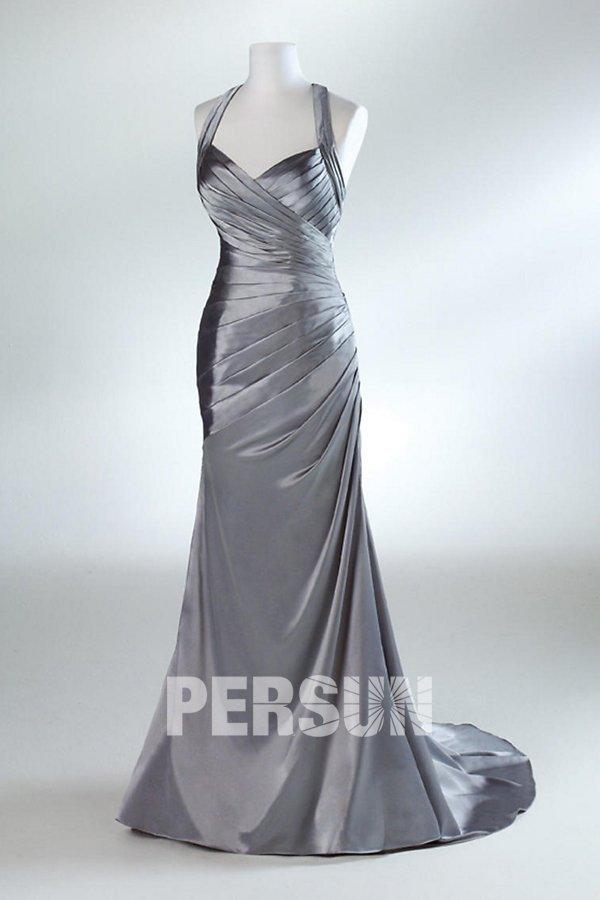 robe de soirée sirène halter plissé