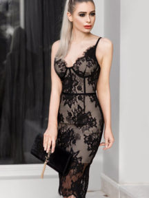 petite robe noire sexy fourreau en dentelle avec bretelle fine