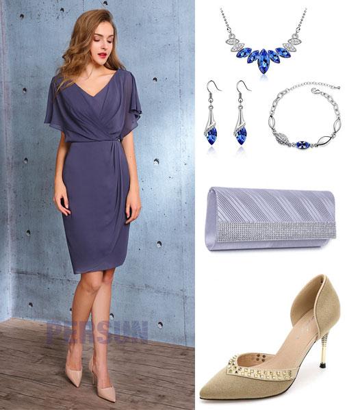 robe de cocktail courte et accessoires